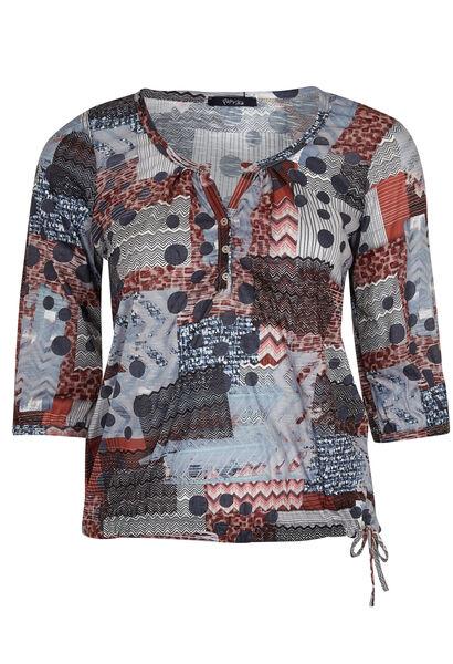 T-shirt patchworkprint van gevlamd tricot - Roze