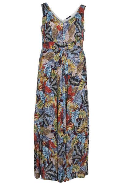 Longue robe imprimé feuillage - multicolor