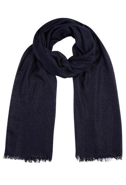 Effen sjaal met lurex - Marineblauw