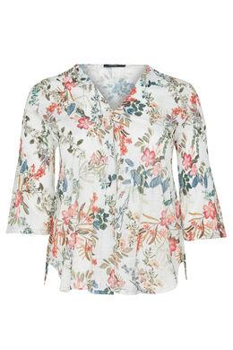 T-shirt van plooitjestricot met bloemenprint, Wit
