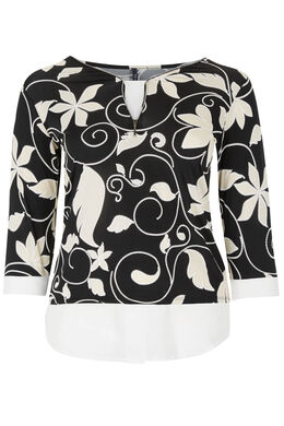 T-shirt maille froide imprimé fleuri, Noir