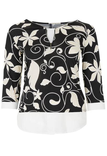 T-shirt maille froide imprimé fleuri - Noir