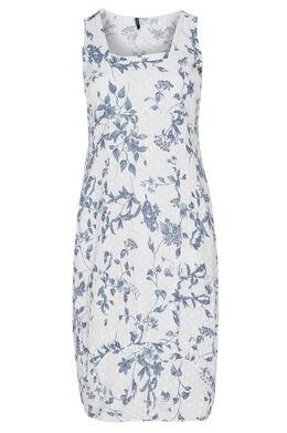 Lange jurk van bedrukt linnen met bloemenprint, Wit