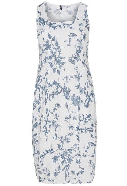 Lange jurk van bedrukt linnen met bloemenprint - Wit