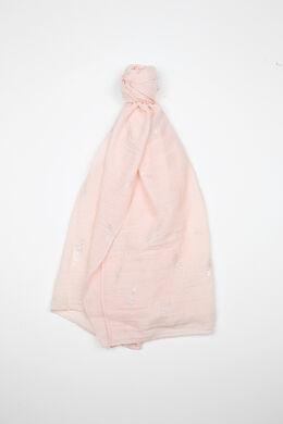 Sjaal met pluimenprint, Blush