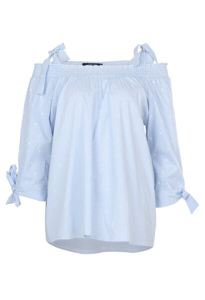 Blouse met blote schouders en print - Lichtblauw