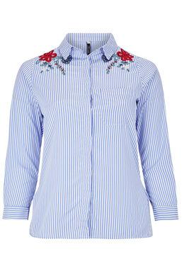 Chemise rayée broderie fleurs, Bleu