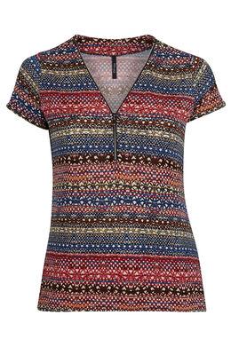 T-shirt in bedrukt koel tricot Indigo