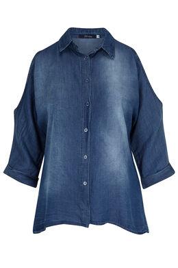 Overhemd van tencel, blote schouders, Denim