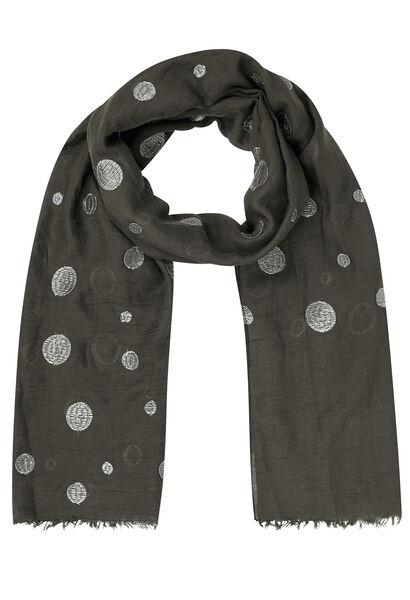 Sjaal met geborduurde lurexcirkels - Antraciet