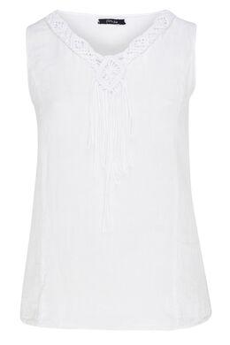 Witte top met geborduurde kralen, Wit