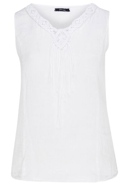 Witte top met geborduurde kralen - Wit