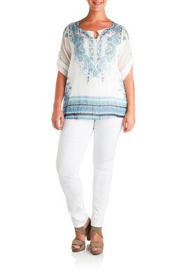 Shirt in voile met bloemetjesprint Lichtblauw