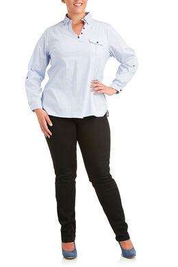 Gestreept shirt, V-hals met knoopjes, Lichtblauw