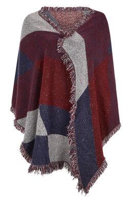 Sjaal met geometrische print + kwastjes Bordeaux
