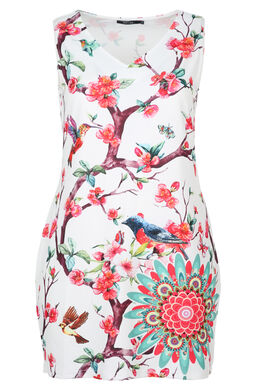 Jurk bedrukt met vogels en mandala, Multicolor