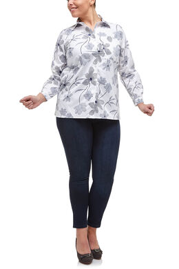 Tweekleurige blouse met bloemenprint, Wit