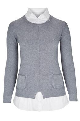 2-in-1 trui-blouse, Grijs