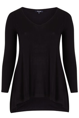 T-shirt in viscose met punteffect Zwart