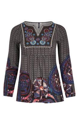 T-shirt van warm tricot + geborduurde voorkant Zwart
