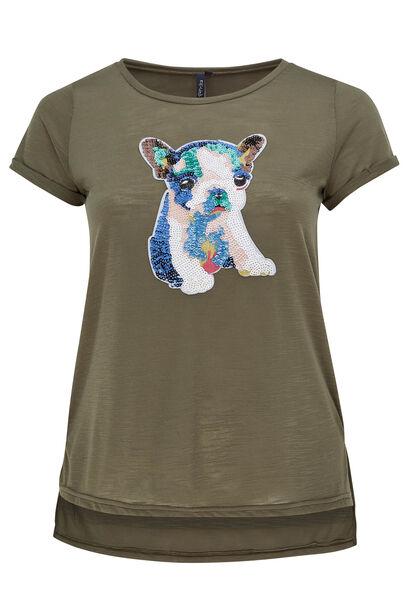 T-shirt met hondenkop en lovertjes - Kaki