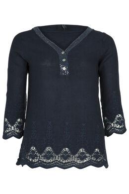 Blouze van linnen met borduursel en kant, Marineblauw