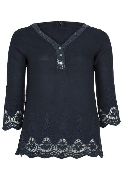 Blouze van linnen met borduursel en kant - Marineblauw