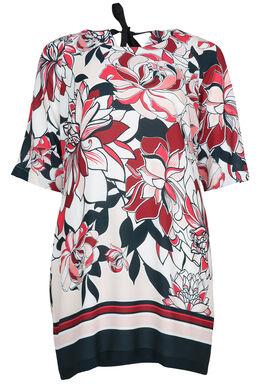 Bedrukte jurk met V-vormige rugopening, Kers