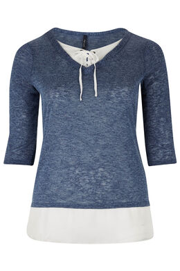 T-shirt 2-in-1 in warm, fonkelend tricot, Indigo