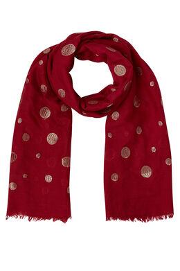 Sjaal met geborduurde lurexcirkels, Tomaat