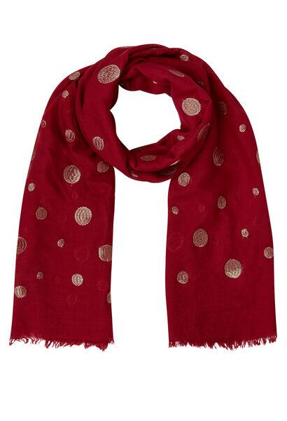 Sjaal met geborduurde lurexcirkels - Tomaat