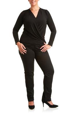 Gedrapeerd wikkel-T-shirt, Zwart