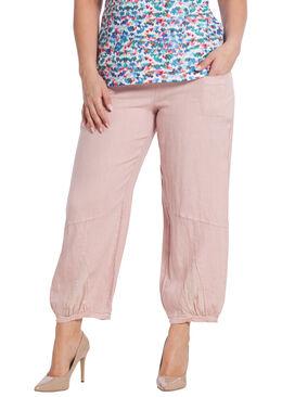 7/8-broek in linnen, Roze