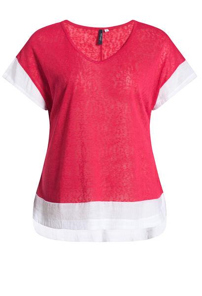 T-shirt met 2-in-1-effect - Kers