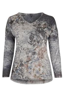 T-shirt van bedrukt, warm tricot, Grijs
