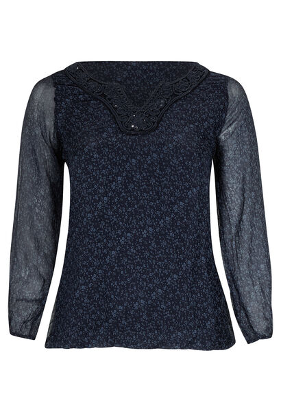 Bolvormig shirt in libertyzijde - Marineblauw