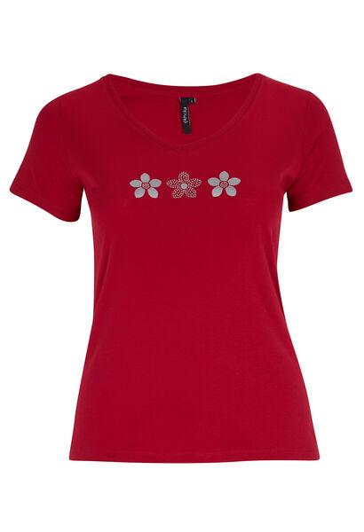 Katoenen T-shirt met madeliefjesprint - Framboos
