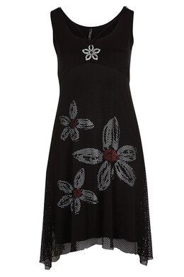 Lange jurk in nettricot met print Zwart