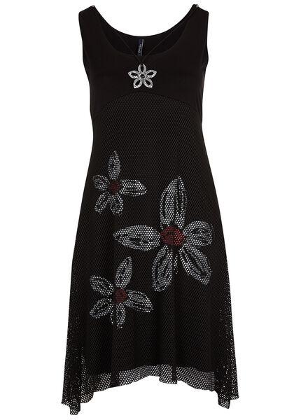 Lange jurk in nettricot met print - Zwart