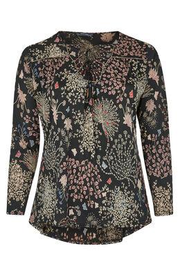 T-shirt van tricot met bloemenprint, Zwart