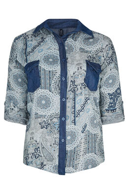 Chemisier mix print et tencel, Gris-clair