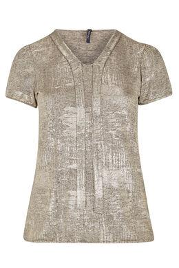 T-shirt met strikhals van gouden tricot, Beige