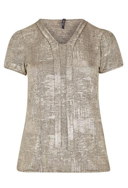 T-shirt met strikhals van gouden tricot - Beige