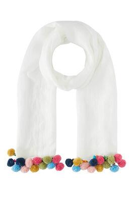 Foulard uni, pompons multicolores, Ecru