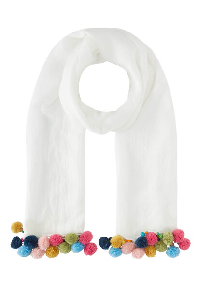 Effen sjaal, veelkleurige pompons - Ecru