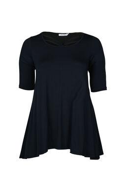 T-shirt en maille viscose encolure croisée, Marine
