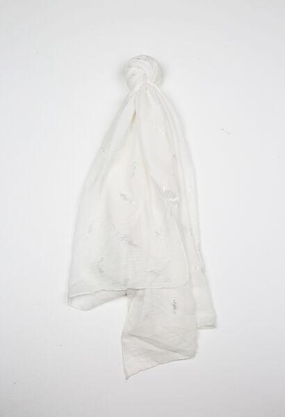 Foulard imprimé plume - Blanc