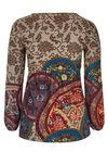 T-shirt maille chaude & plastron brodé, multicolor