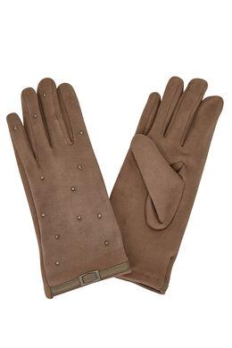 Handschoenen met lussen en studs, Taupe