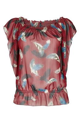 Elastische blouse van voile Bordeaux